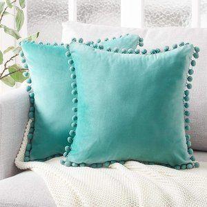 NWOT Pom Pom Fringe Pillow Covers